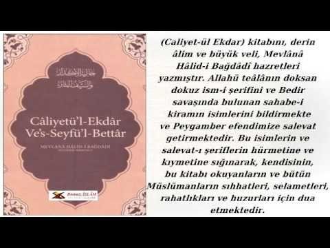 Câliyet-ül Ekdar kitabı | yazan-Mevlânâ Hâlid-i Bağdâdî (kuddisesirruh)