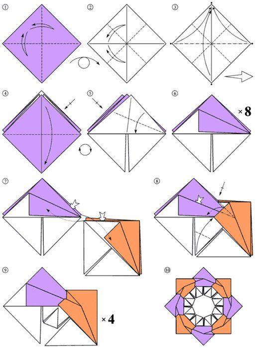 ***Children crafts. Origami - a star, assembly design
