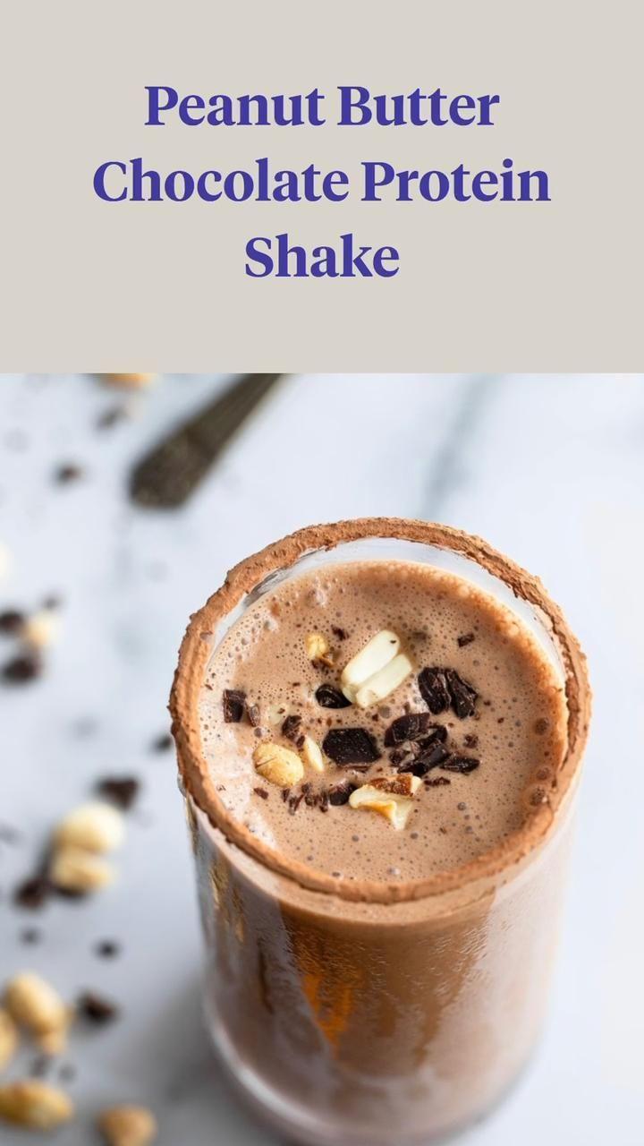 Chocolate Protein Smoothie, Chocolate Peanut Butter Smoothie, Protein Smoothie Recipes, Chocolate Recipes, Healthy Smoothies, Easy Protein Shakes, Peanut Recipes, Snack, Yummy Drinks