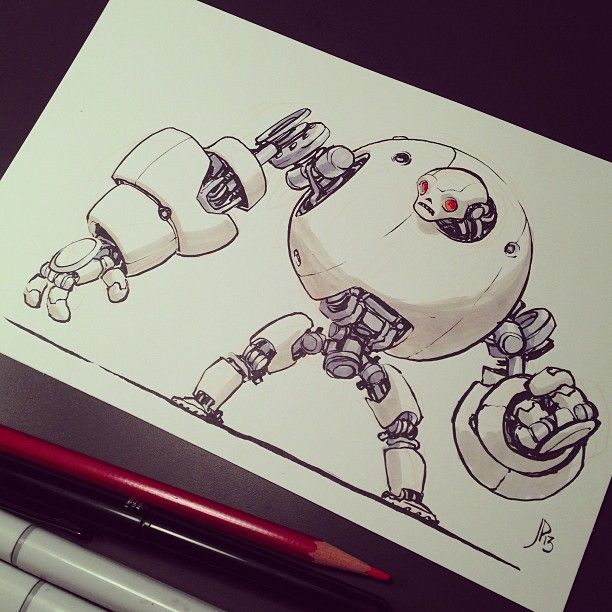 Robot drawing time. Another Kickstarter reward. - Jake Parker