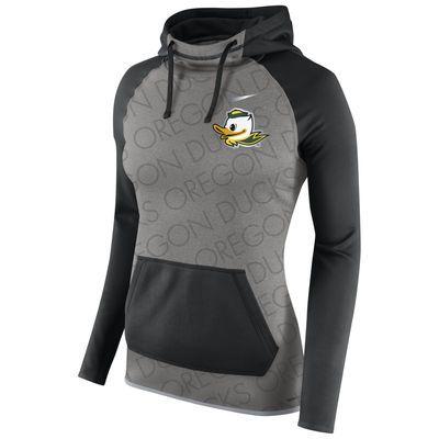 Oregon Ducks Nike Women's Champ Drive All-Time Hoodie - Gray/Black