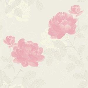 Papel de Parede Casual Tradicional Floral Samba Finottato Rosa / Bege