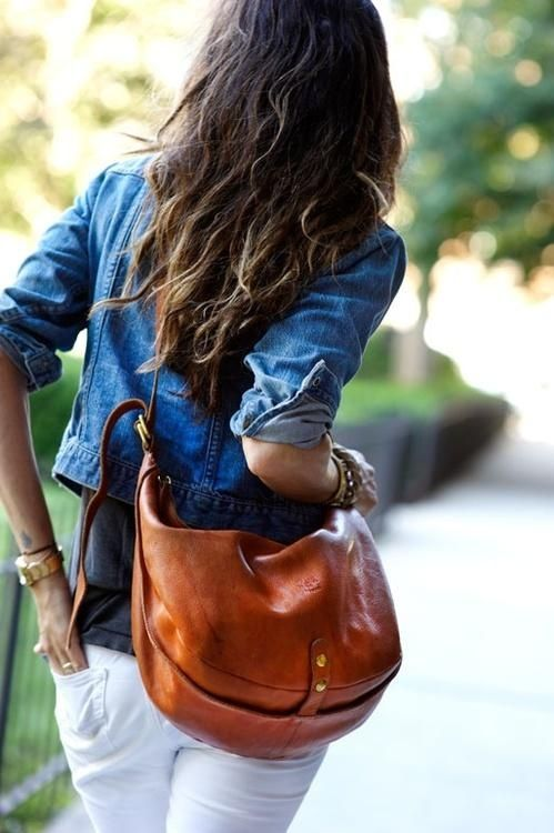 my summer look, crisp white jeans, denim/chambray and leather bag...perfect.