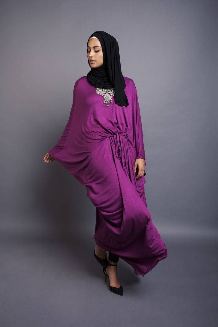 Berry Grecian Kaftan + Black Jersey Hijab + Palm Statement Necklace | INAYAH www.inayahcollection.com