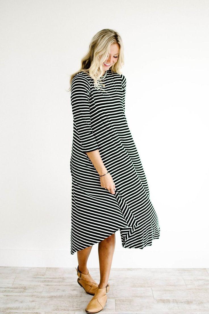 Striped Fall Swing Dress | ROOLEE