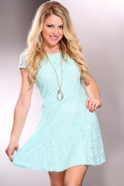 Mint Lace Overlay Cap Sleeves Babydoll Skater Mini Dress