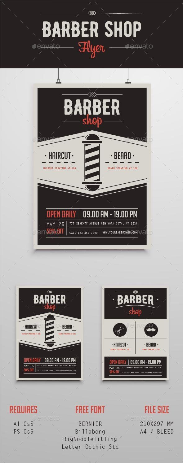 Barber Shop Flyer Template PSD, AI Illustrator. Download here: http://graphicriver.net/item/barber-shop-flyer/16287808?ref=ksioks