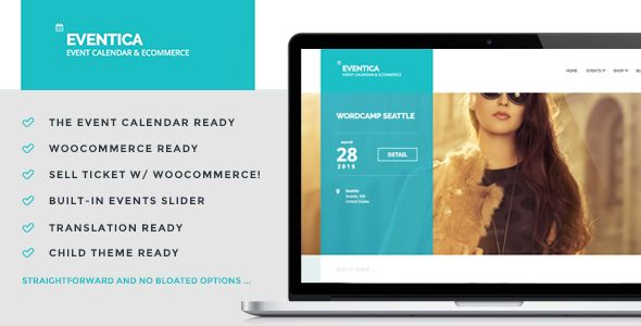Eventica is Event Calendar and eCommerce WordPress Theme. Ready to use for events listing and online store. You can also sell your event ticket using WooCommerce!  COMPATIBILITY:      WordPress 4.1...