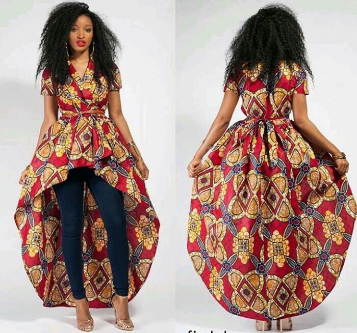 African Long High Low Peplum Top And Jeans African Wear