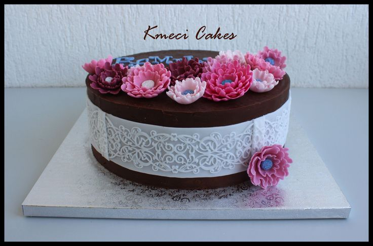 chocolate ganache flower cake