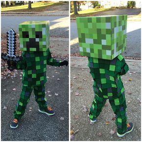 Creeper Minecraft Kostüm selber machen | Kostüm Idee zu Karneval, Halloween & Fasching