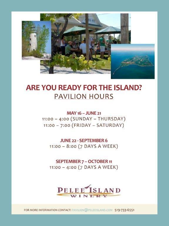 Pelee Island Winery Pavilion Hours for the 2015 Season