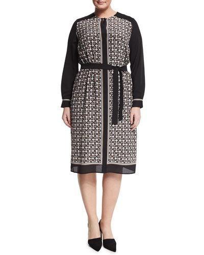 Damiere Belted Geometric-Print Dress, Plus Size