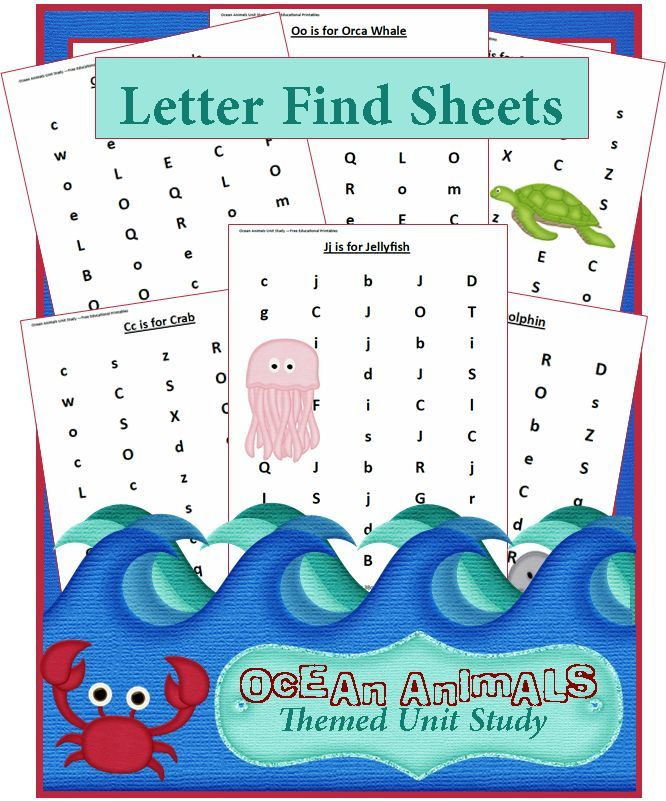 ocean animals unit study find a letter worksheets posts activities and plays. Black Bedroom Furniture Sets. Home Design Ideas