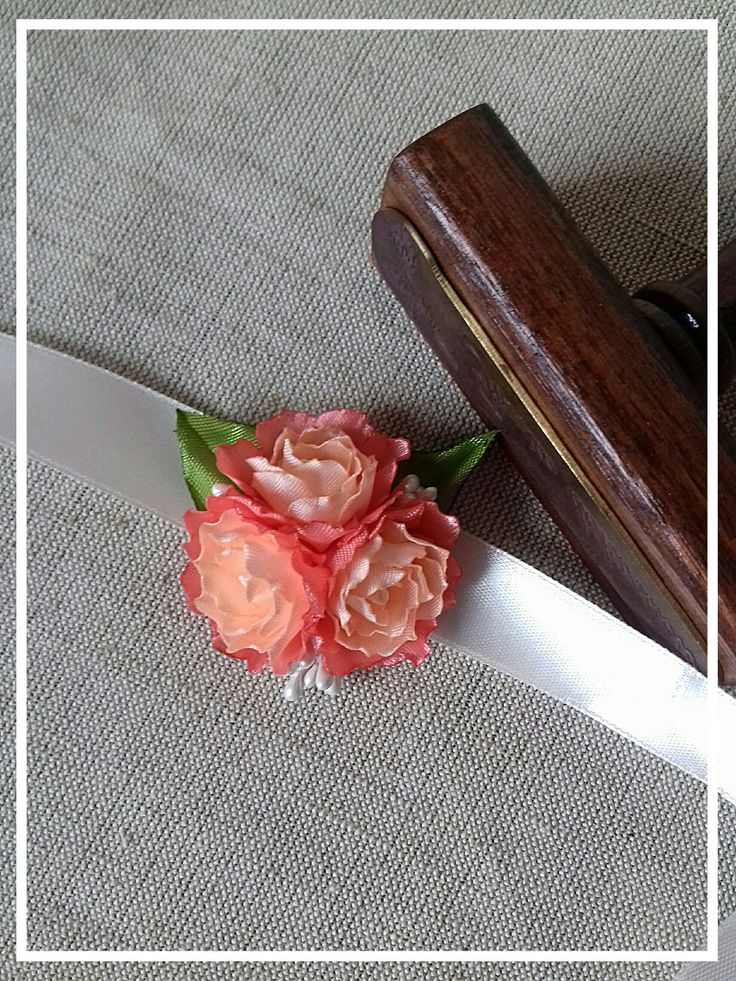 Wrist Corsage - apricot corall wrist- wedding fabric rose flower FREE SHIPPING by FonixDecoration on Etsy