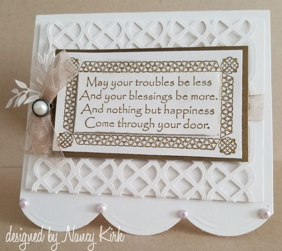 May Your Blessings stamp - embossed with gold on shimmery white cardstock.  A silhouette cut file was used to create the background.