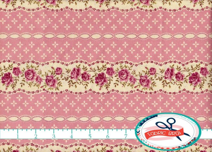 SHABBY CHIC Fabric By The Yard Fat Quarter Pink Striped Floral Rose 100