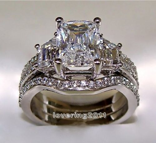 Victoria Wieck Princess cut 5ct Stone 5A Zircon stone 10KT White Gold Filled 3-in-1 Engagement Wedding Ring Set Size 5-11 Gift