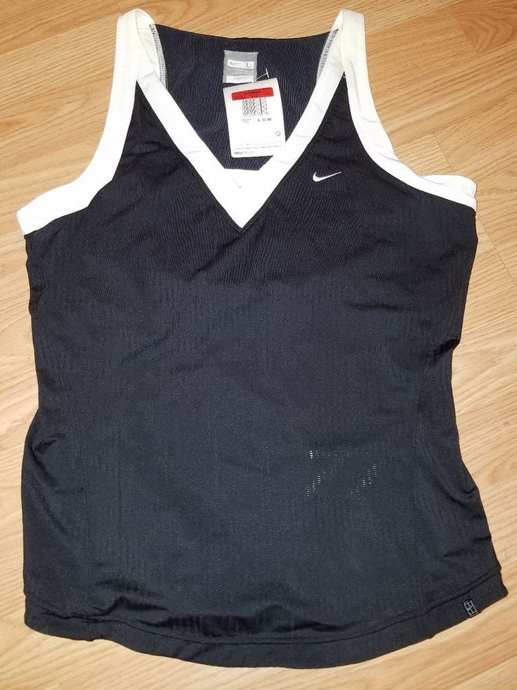 NWT Ladies Large Nike Dry Fit Tennis Tank Shirt Black White Workout | Clothing, Shoes & Accessories, Women's Clothing, Athletic Apparel | eBay!