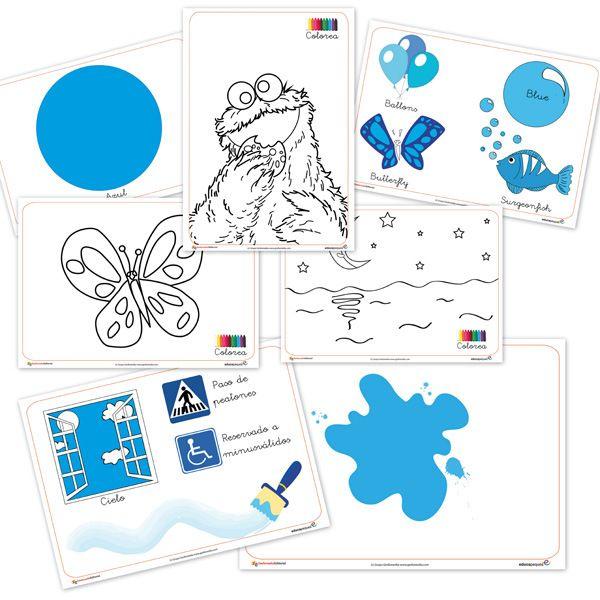 Fichas para aprender, color azul