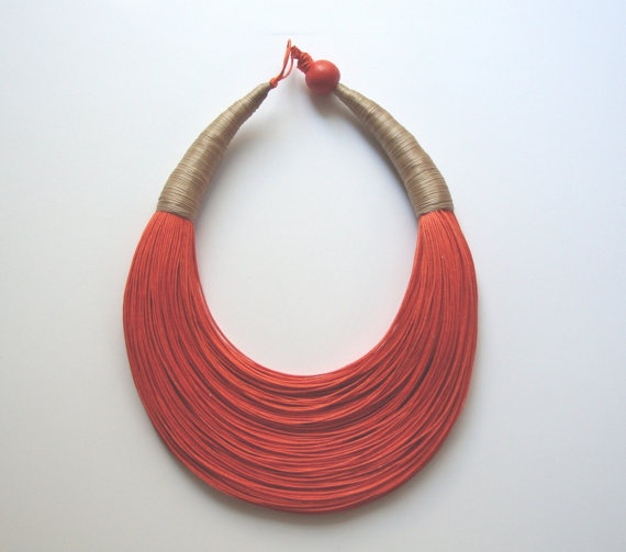 Must have it for the summer! Happy Orange fiber Statement Necklace by superlittlecute on Etsy, $53.00