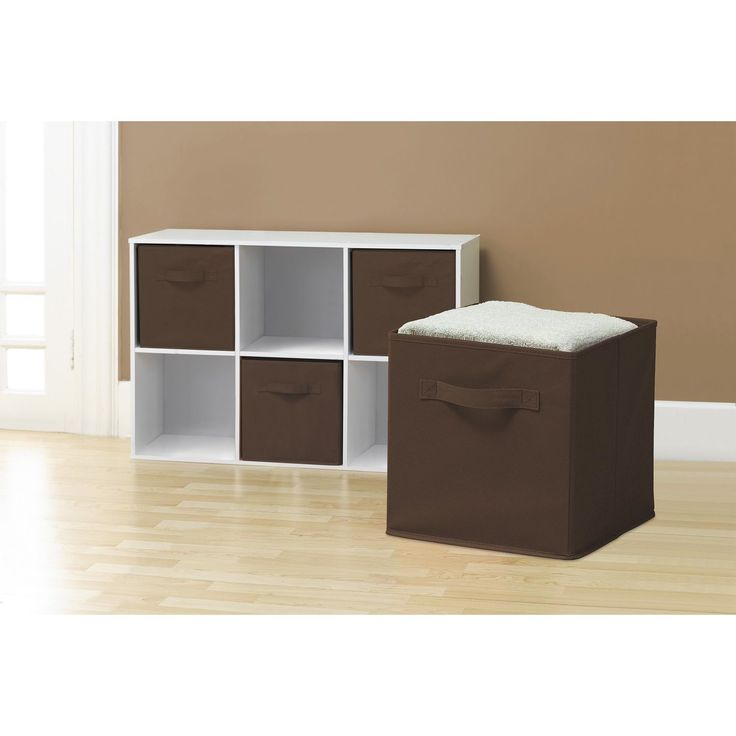 Collapsible Storage Cubes, Chocolate (Pack of 6) (Collapsible Storage Cubes; Pack of 6-Chocolate), Brown (Fabric)