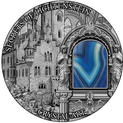 SECRETS OF LICHTENSTEIN Crystal Art Castle Schloss 2 Oz Silver Coin 2$ Niue 2012 - Gold Silver Art