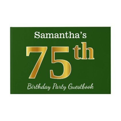 Green Faux Gold 75th Birthday Party  Custom Name Guest Book - elegant gifts gift ideas custom presents