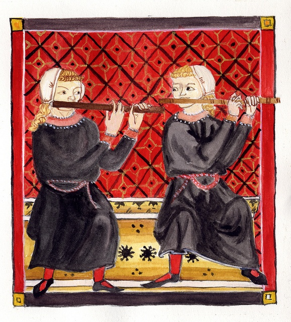 """""""dueling flutes"""" two flautists from the Cantigas de Santa Maria"""
