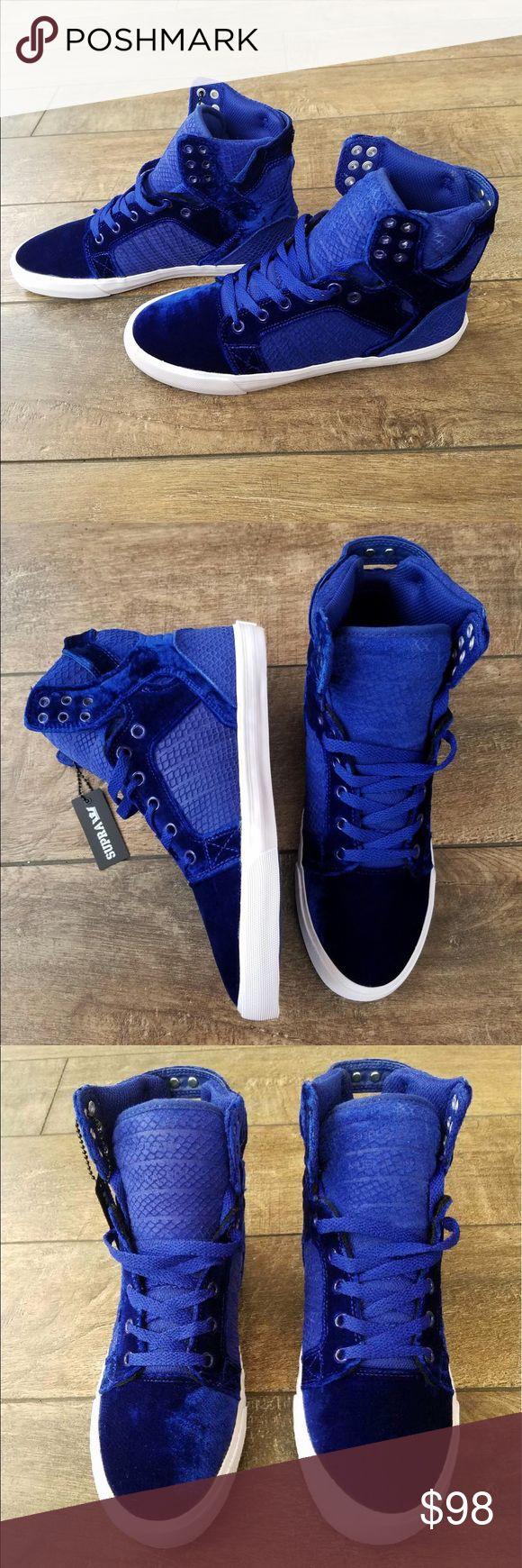 Selling this Supra Skytop Royal- White Blue Velvet Sneakers on Poshmark! My username is: thegreatimpulse. #shopmycloset #poshmark #fashion #shopping #style #forsale #Supra #Shoes