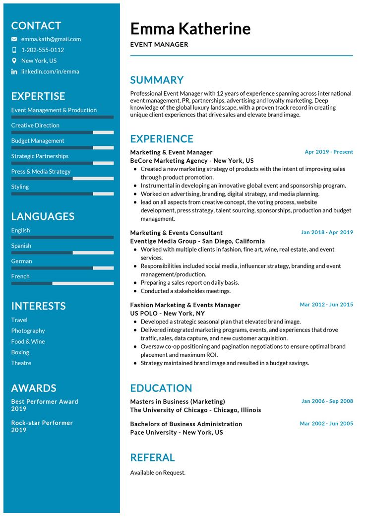 Event Manager Resume Example in 2020 Event planner resume
