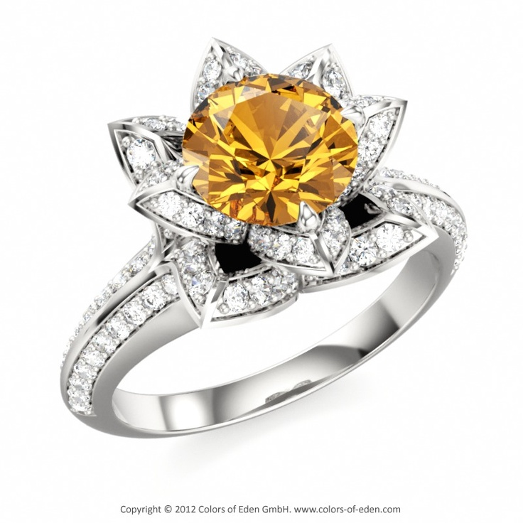 citrine lotus ring november birthstone engagement gold
