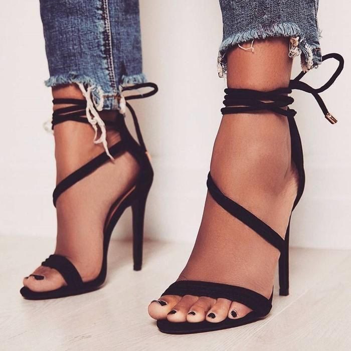 4618c23573 Ankle Lace Up Simple Open Toe Stiletto High Heel Sandals #girls #fashion  #onlineshopping #outfits #ohyoursfashion