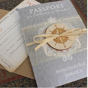 Lucky Seahorse with Compass Passport Wedding Invitation (Montego Bay, Jamaica)