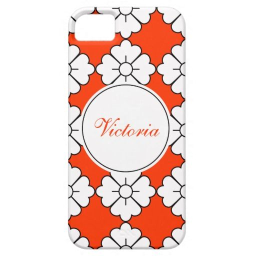 Personalizable floral pattern phone cases - Personalize by adding your own name. The design (in white with black outline) is tileable (you can scale it up or down to customize it). The background (in orange in the preview) can be changed to any color you like. If you don't like to personalize (you want only the pattern), you can remove the border/frame and text.