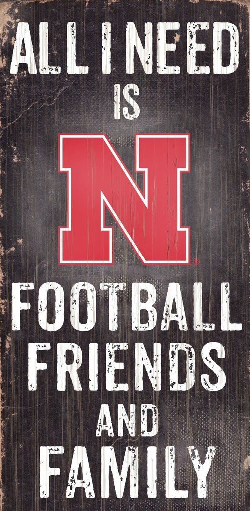 "Nebraska Cornhuskers Wood Sign - Football Friends and Family - 6""x12"""