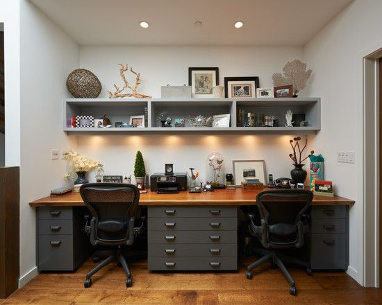 Choosing the Best Desk for Two People: Neoteric Home Office With Elegant Desk For Two People Also Wooden Countertop And Dark Gray Drawers Also Modern Black Swivel Chairs And Gray Ornament Shelves Also White Wall Color And Small Ceiling Lights ~ vettelicious.com Home Office Ideas Inspiration