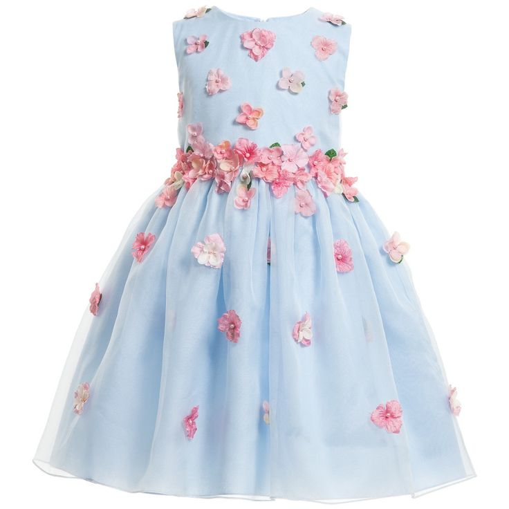 Lesy Blue Silk Dress with Pink Flowers at Childrensalon.com