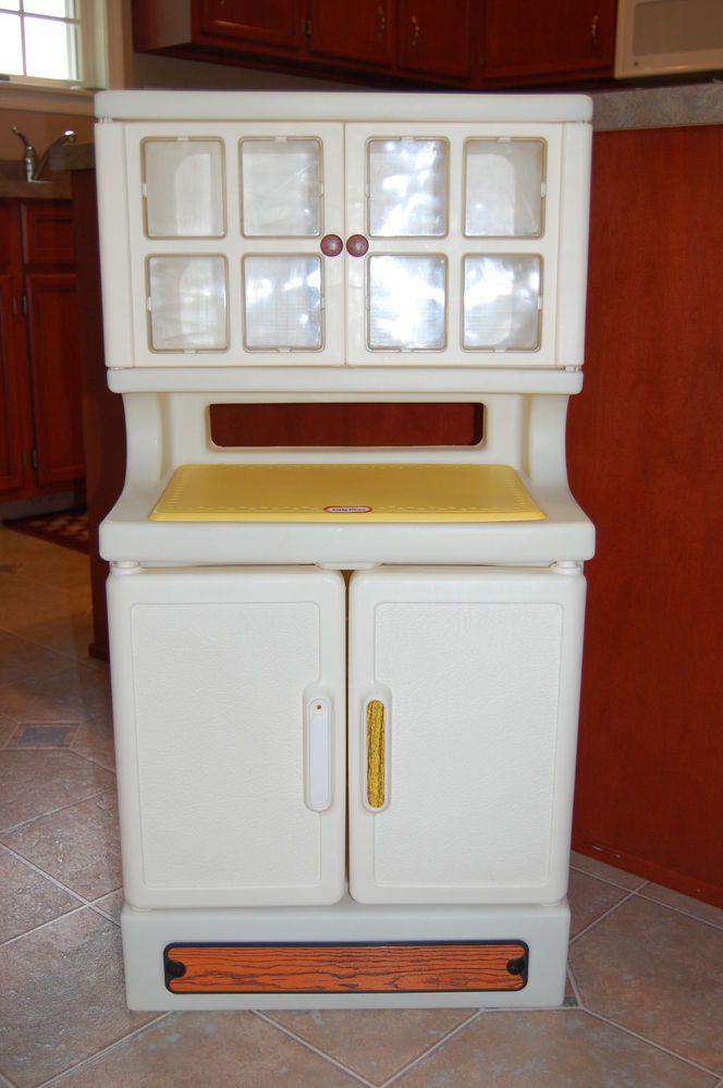 Vintage LITTLE TIKES Child Sized Hutch, China Cabinet, Pretend ...