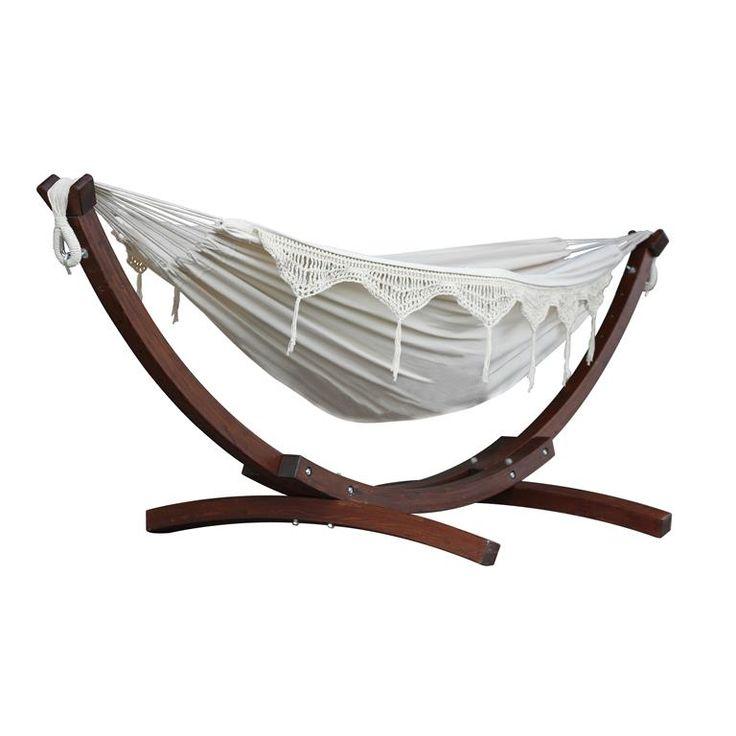 Vivere Double Cotton Hangmat met Standaard ... on Decoris Outdoor Living id=26091