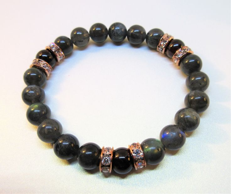 Labradorite  8 mm AA Grade  with Garnet and Rose Gold Sparkly Accents, Natural Stones. Protection, intuition.....