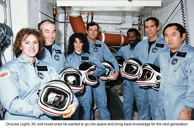 Space Shuttle Challenger CrewSTS-51-L crew: (front row) Michael J. Smith, Dick Scobee, Ronald McNair; (back row) Ellison Onizuka, Christa McAuliffe, Gregory Jarvis, Judith Resnik.
