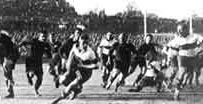 ELLISPARK :: The History of Ellis Park Transvaal on the attack against the All Blacks of 1928. This match was the first international game to be played at Ellis Park.