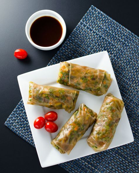 These teriyaki veggie spring rolls are light and tasty and surprisingly filling. Made with simple, healthy ingredients, they are quick and easy to assemble.