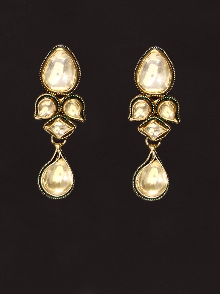 Golden Green Enamel Golden colour Kundan Earring