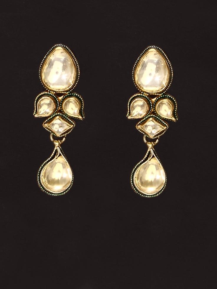 Golden Green Enamel Golden colour Kundan Earring