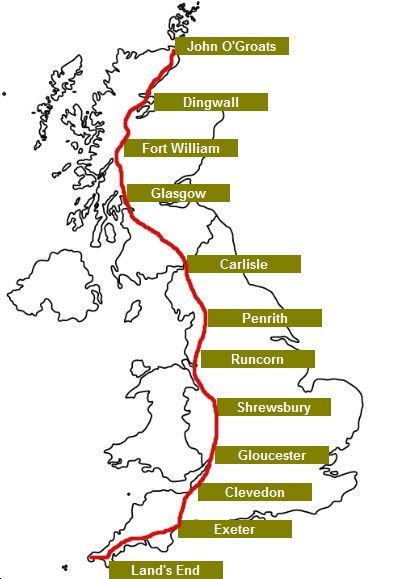 Lands End To John O Groats Cycle Route Map Route John O'Groats to Lands End by Bicycle | Down the Lane For