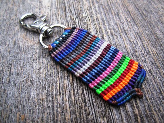 Handmade Micro Macrame Key Chain with Swivel Clip by MinguiKelly, $25.00