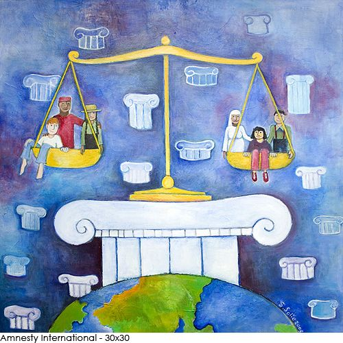 All people are equal under the law. Acrylic on canvas for Amnesty International Canada.