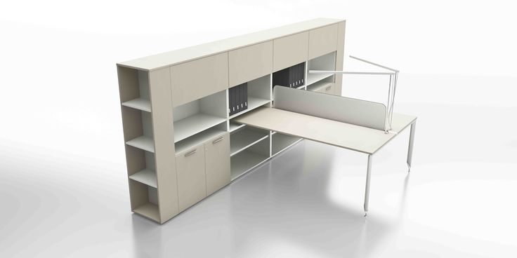 Italian office furniture offering so much more! Yo two person workstation from UFFIX with integrated storage.